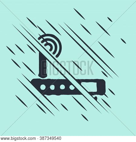 Black Router And Wi-fi Signal Icon Isolated On Green Background. Wireless Ethernet Modem Router. Com
