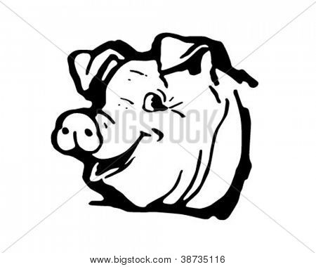 Happy Hog - Retro Clipart Illustration