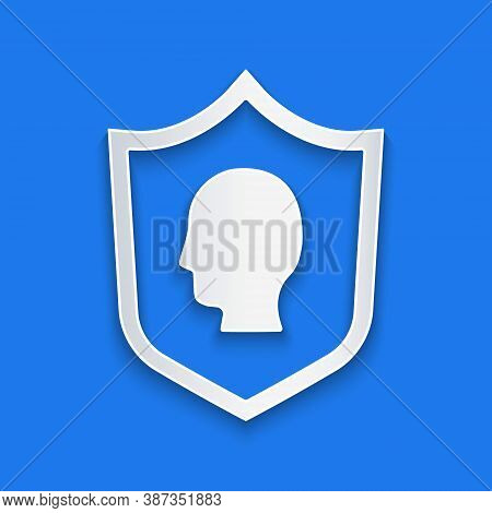 Paper Cut User Protection Icon Isolated On Blue Background. Secure User Login, Password Protected, P