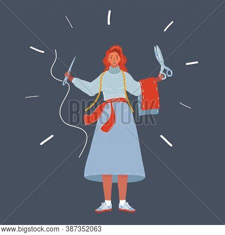 Vector Illustration Of Woman With Needle And Sceesor In Her Hand. Dressmaker Workshop On Dark Backgr