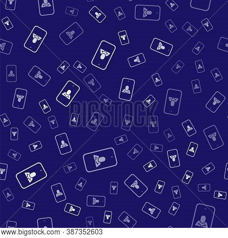 White Online Psychological Counseling Distance Icon Isolated Seamless Pattern On Blue Background. Ps
