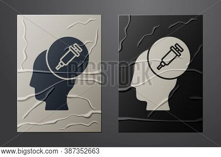 White Addiction To The Drug Icon Isolated On Crumpled Paper Background. Heroin, Narcotic, Addiction,