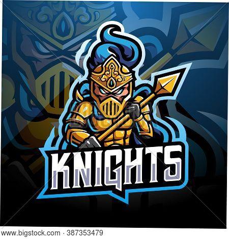 Knight Esport Mascot Logo Design With Text