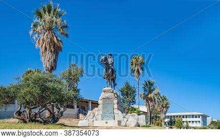 Windhoek, South Africa - June 09, 2012: View Of The Reiterdenkmal In Windhoek. The Alte Feste And Wi
