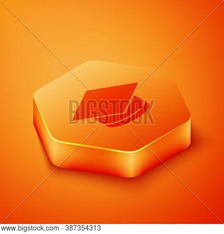 Isometric Graduation Cap Icon Isolated On Orange Background. Graduation Hat With Tassel Icon. Orange