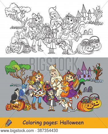 Vector Coloring Halloween Illustration Ghost, Cowgirl, Witch
