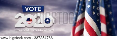Us Presidential Election. Usa Election Banner With Us Symbols And Colors. Patriotic Stars. Vote. Uni