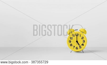 Yellow Vintage Alarm Clock On White Background. Concept  Get Off Work At Five.
