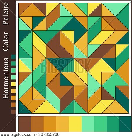 Contrast Harmonious Color Palette. Geometric Background With Mint, Cyan, Brown, Yellow Color Swatche