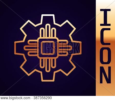 Gold Line Processor Icon Isolated On Black Background. Cpu, Central Processing Unit, Microchip, Micr