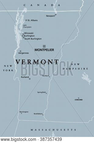 Vermont, Vt, Gray Political Map With The Capital Montpelier. Northeastern State In The New England R