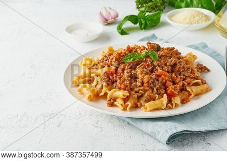 Pasta Bolognese Campanelle With Mincemeat And Tomato Sauce