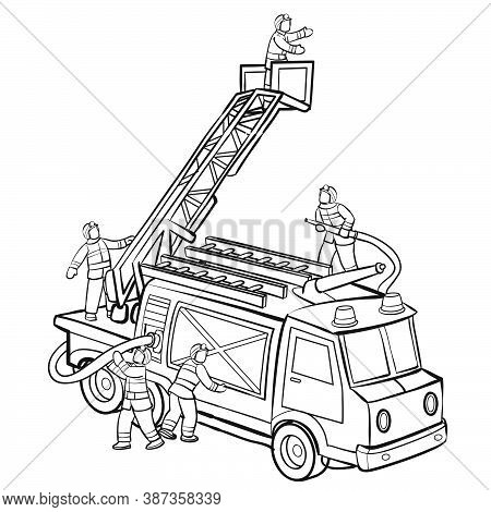 Sketch, Firefighters On A Fire Truck Rescuing A Child, Coloring Book, Cartoon Illustration, Isolated