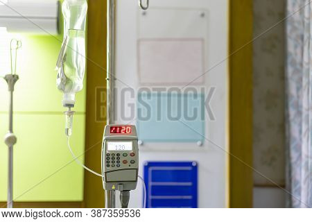 Iv Drip Irrigation Transparent Infuses Fluids Medication Or Nutrients And Sodium Chloride Or Saline