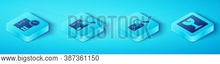 Set Isometric Cardboard Box And Fast Time, Search Package, Fragile Broken Glass And Envelope With Ma
