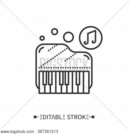 Piano Line Icon. Classical Acoustic Keyboard Orchestral Musical Instrument. Classic, Ethnic, And Mod