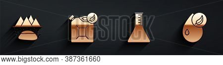 Set Oilfield, Bio Fuel Canister, Oil Petrol Test Tube And Bio Fuel Icon With Long Shadow. Vector