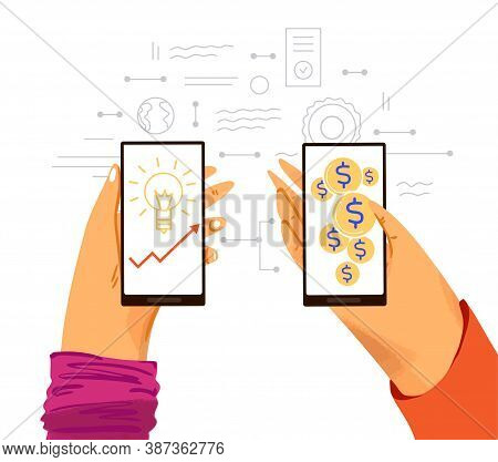 Human Hands With Phone - Graphs And Ideas For Making Money Online, Business Infographics About Money