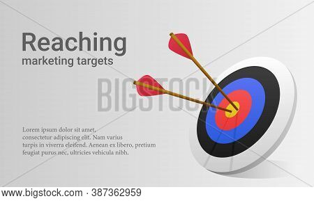 Vector Illustration Of Arrow Right In The Middle Of Target. Suitable For Illustration Of Good Market