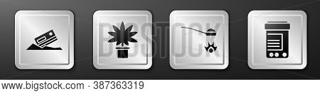 Set Cocaine And Credit Card, Marijuana Or Cannabis Plant In Pot, Heroin In A Spoon And Medicine Bott