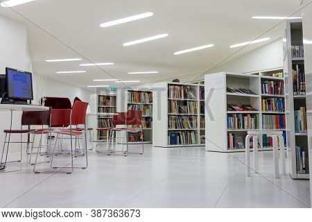 Seinajoki, Finland - October 10, 2014: Interior Of A Modern White Library With Book Closets, Tbale A