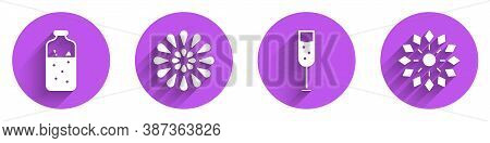 Set Mulled Wine, Firework, Glass Of Champagne And Firework Icon With Long Shadow. Vector