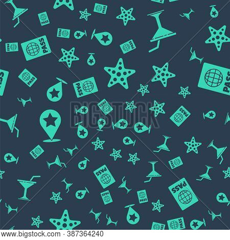 Set Starfish, Martini Glass, Map Pointer With Star And Passport On Seamless Pattern. Vector
