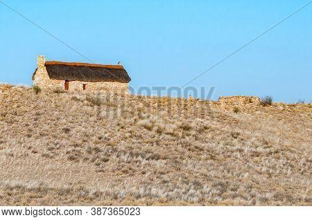 Kgalagadi Transfrontier Park, South Africa - June 05, 2012: An Historic Settler Home At Auchterlonie