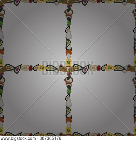 Picture In Yellow, Gray And Brown Colors. Vector. Quadratic Frames Doodles. Seamless.