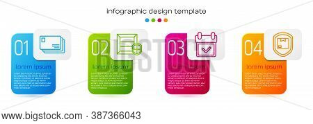 Set Line Envelope, Delivery Pack Security With Shield, Calendar With Check Mark And Delivery Pack Se
