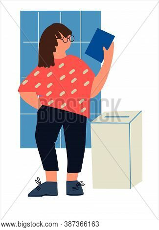 Casting Ballot At Polling Station. Woman Putting Ballot Paper In The Box. Voting And Election Concep