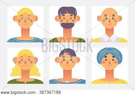 Avatar Vector Set With Blonde, Brunette And Bald Caucasian Characters. Creative Collection With Love