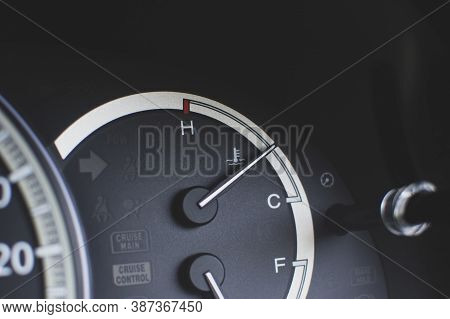 Water Temperature Gauge On Dashboard Inside To The Car