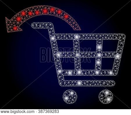 Glare Mesh Polygonal Undo Shopping Order With Glowing Spots. Illuminated Vector Model Created From U
