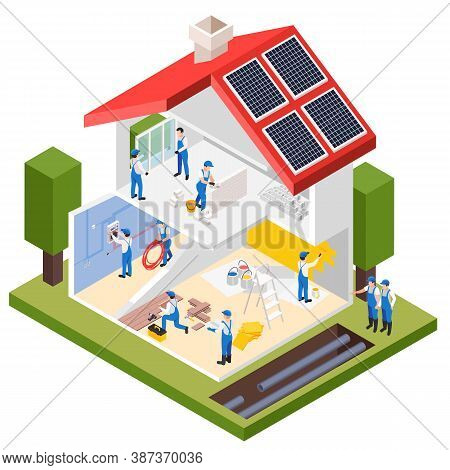 Renovation Repair Works Isometric Composition With Profile View Of Private House Under Maintenance W