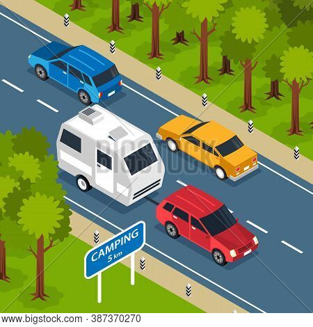 Isometric Family Trip Square Composition With Outdoor Scenery And Motorway Route With Camper Van And