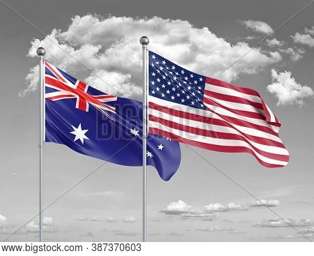 Two Realistic Flags. United States Of America Vs Australia. Thick Colored Silky Flags Of America And