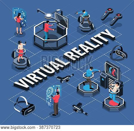 Isometric Flowchart With People In Virtual Reality Glasses 3d Vector Illustration