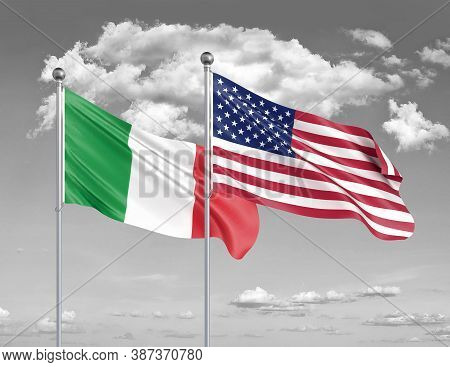 Two Realistic Flags. United States Of America Vs Italy. Thick Colored Silky Flags Of America And Ita