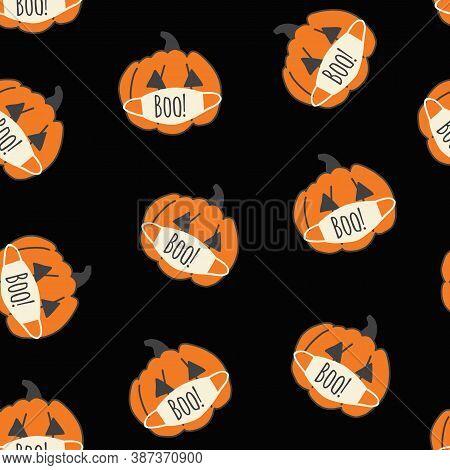Seamless Vector Pattern Corona Halloween Pumpkins On Black. Pumpkins Wearing Face Masks. Covid-19 Vi