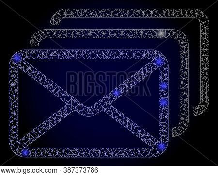 Glare Mesh Polygonal Mail Queue With Glowing Spots. Illuminated Vector Constellation Created From Ma