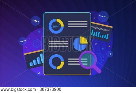 Seo Ranking Analysis Modern Flat Vector Illustration. On-page Search Engine Analytics And Website Op