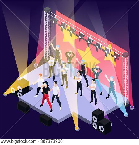K Pop Music Boys Group Singing And Dancing On Outdoor Stage Isometric Background Vector Illustration