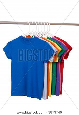 Colorful T Shirts On White