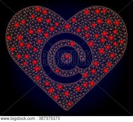 Glowing Mesh Polygonal Dating Heart Address With Light Spots. Illuminated Vector Constellation Creat