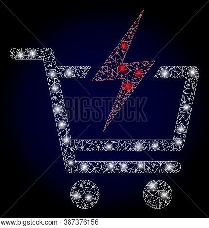 Glowing Mesh Network Instant Shopping With Glowing Spots. Illuminated Vector Constellation Created F