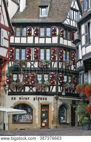 Colmar, France - October 08: In The ''rue Des Marchands'' You Can See Meny Picturesque Historic Buil