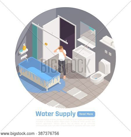 Residential House Water Supply System Problems Circular Isometric Composition Frustrated With Bathtu