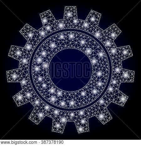 Glare Mesh Polygonal Cog With Lightspots. Illuminated Vector Model Created From Cog Icon. Dark Blue