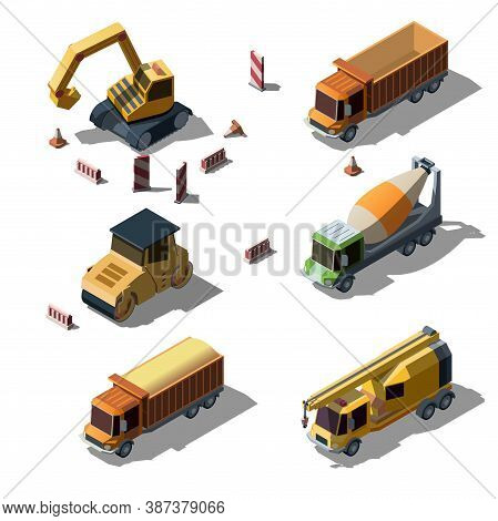 Set Of Equipment For The Construction Industry As Road Roller, Dump Truck, Tracked Excavator, Asphal